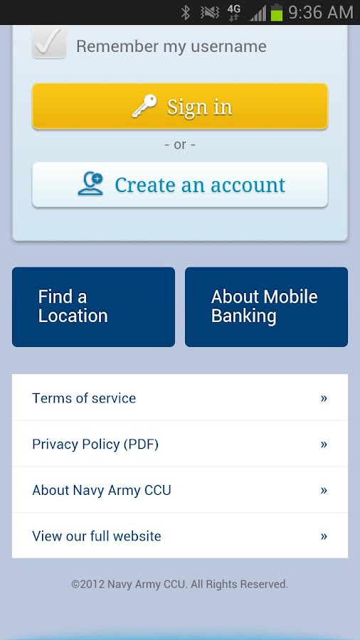 Navy Army CCU Mobile Banking - screenshot