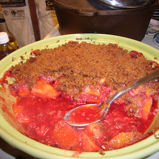 Peach Melba Crisp with Gingersnap Streusel