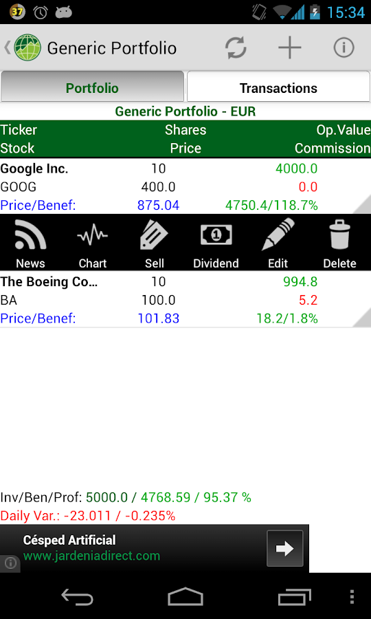 Stocks Portfolio- screenshot