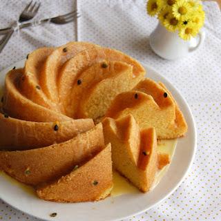 Cornmeal Cake With Passion Fruit Glaze.