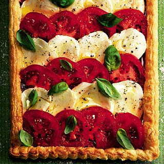 Tomato & Mozzarella Tart With Roast Pepper Pesto