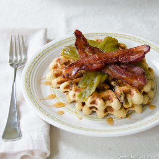 Masa Waffles w/ Hatch Chile & Bacon