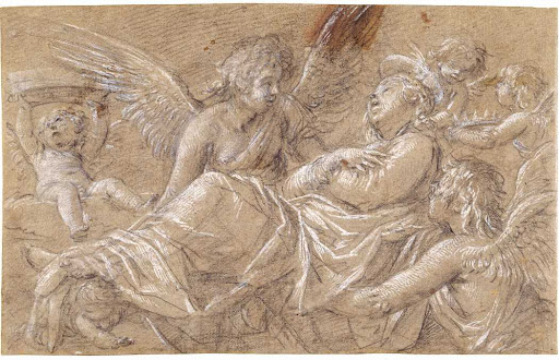 Saint Catherine, Carried up to Heaven by Angels