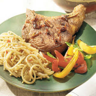 Asian Pork Chops With Thai Sesame Noodles.