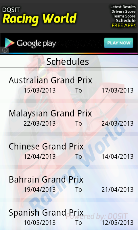 Motor Racing Schedule & Result - screenshot