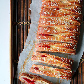 Braided Bread with Strawberry and Cream Cheese Filling.