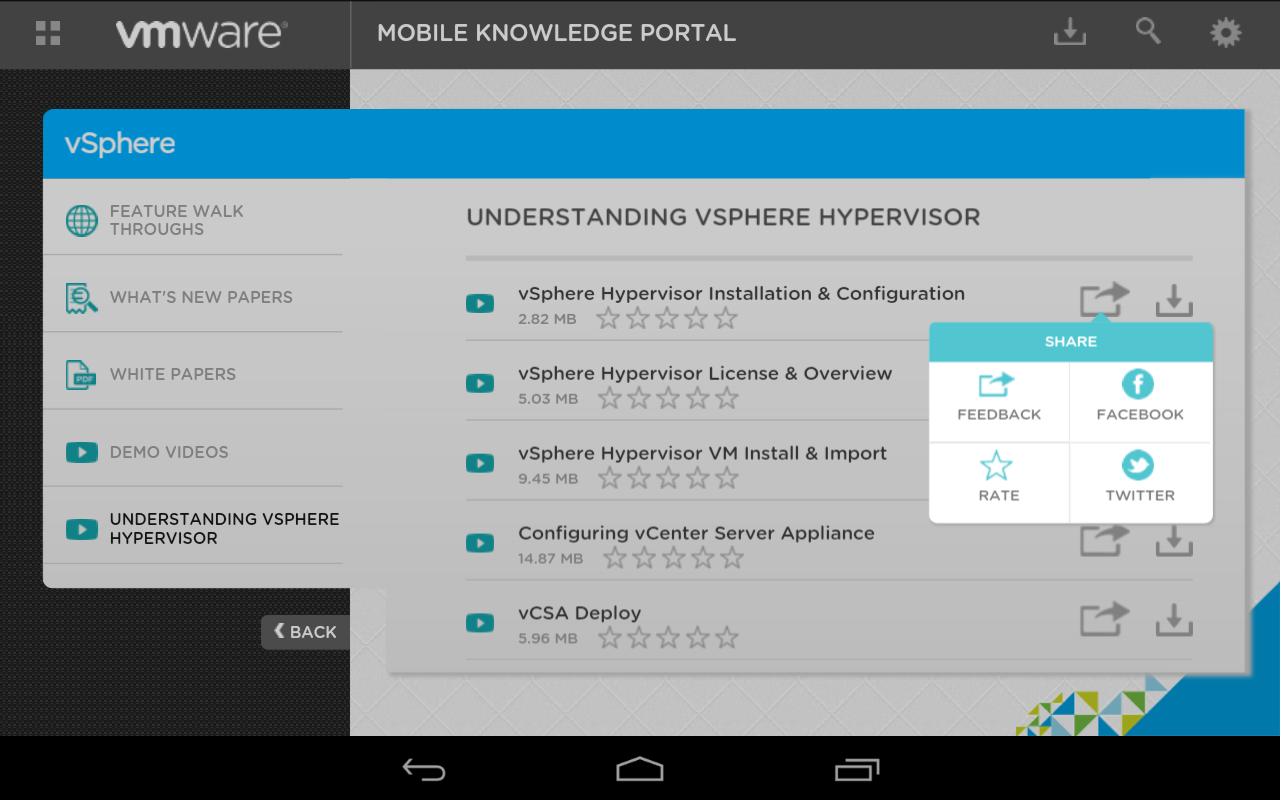 VMware Mobile Knowledge Portal - screenshot