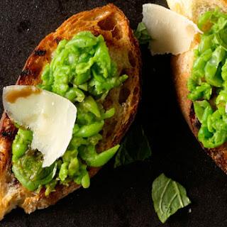 Peas, Mint & Parmesan Crostini.