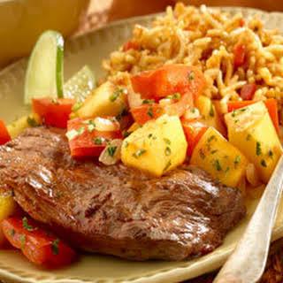 Chipotle Seasoned Skirt Steak With Warm Mango Salsa.