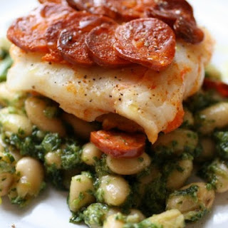 Chorizo Crusted Cod and Beans with Arugula Pesto