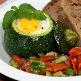 Eight-Ball Zucchini With Eggs Baked Inside.