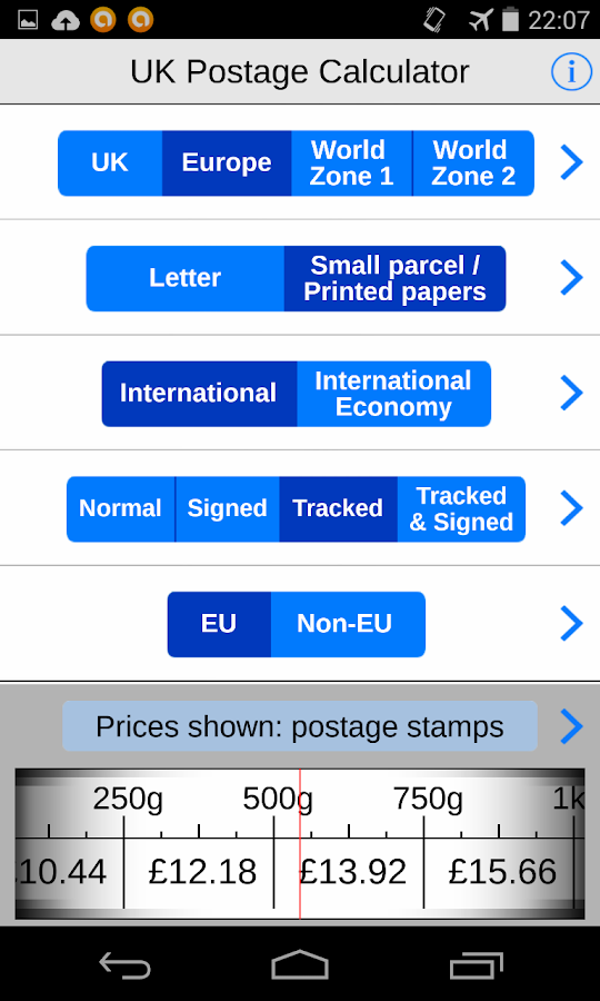 UK Postage Calc. eBay delivery- screenshot