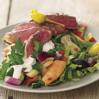 Greek Salad Stacks with Sliced Steak.