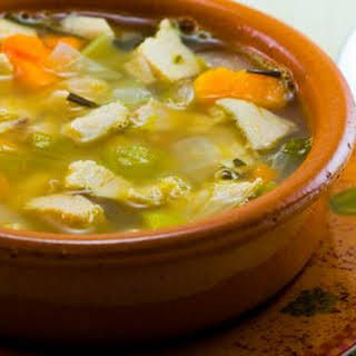 Turkey and Cannellini Bean Soup with Sweet Potatoes and Rosemary.