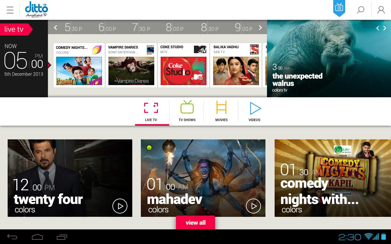 Ditto TV: LiveTV,Movies,Videos - screenshot