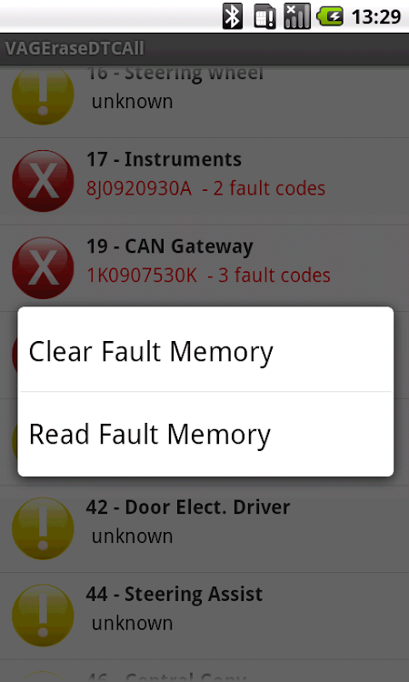 DTC Fault Memory erase for VAG – (Android Apps) — AppAgg
