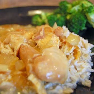 Slow Cooker Chicken and Gravy over Rice.