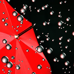 Sonic Showers by David W Hubbs - Digital Art Things ( processed, red and black, umbrella, red umbrella, digital,  )