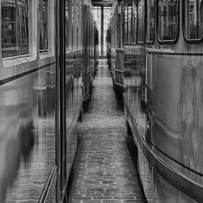 The Tram Museum by Wim De Koster - Transportation Other ( trammuseum, b&w, hdr, transport, nikond80, tram, museum )