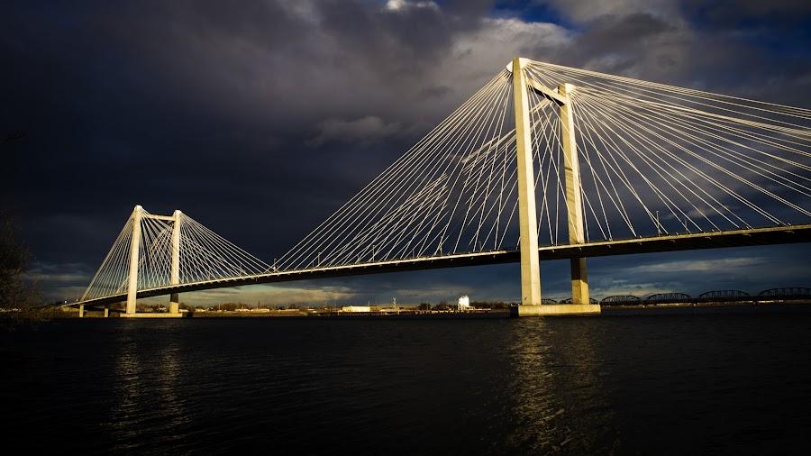 Cable Bridge by Scott Law - Buildings & Architecture Bridges & Suspended Structures ( clouds, water, washington, sky, columbia, cable, kennewick, bridge, light, sun, pasco, river )