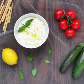 A Warm Goat Cheese Dip with Lemon and Basil