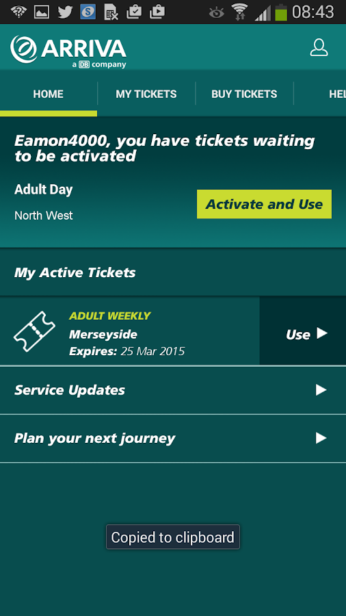 Arriva m-ticket- screenshot