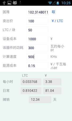 Litecoin的利润计算器