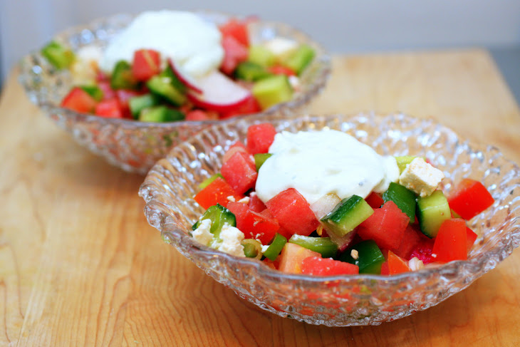 Watermelon and Feta Salad with Chopped Vegetables Recipe