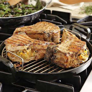 Pork Chops with Butternut Squash and Apple Stuffing.