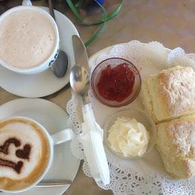 Tea, Coffee and Scones Anyone? by Dawn Simpson - Food & Drink Alcohol & Drinks ( morning tea, acones, coffee, afternoon tea, jam, tea, crea,  )