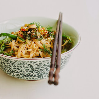 Asparagus + Dill Rice Noodle Salad With Spring Onion Kimchi