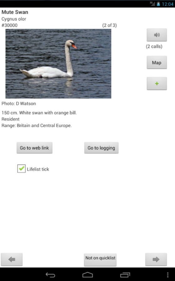 WP & UK Birding Checklist - screenshot
