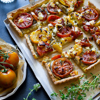 Tomato Tart with Pesto & Onions