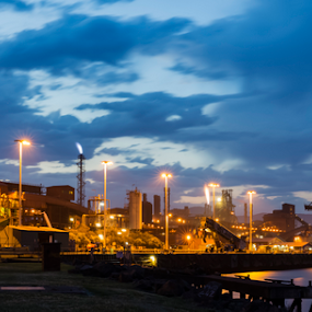 Steelworks by Bradley Rasmussen - Buildings & Architecture Other Exteriors ( port kembla, industrial, steelworks, sunset, reflections )