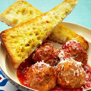 Slow Cooker Italian Meatballs with Garlic Bread.
