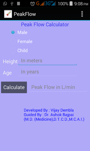 Peak Flow Meter Calculator