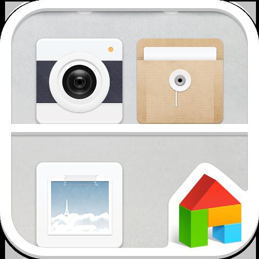 ニュートラルホワイト ドドルランチャーテーマ 個人化 App LOGO-硬是要APP