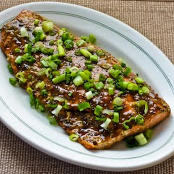 Roasted Wild Salmon with Soy-Wasabi-Agave Glaze and Green Onions Recipe