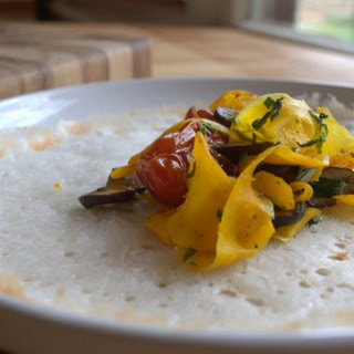 Savory Rice Crepes With Sauteed Vegetables.