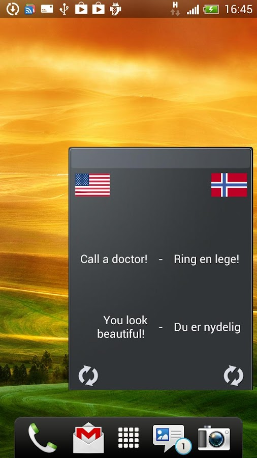 Learn Norwegian widget- screenshot