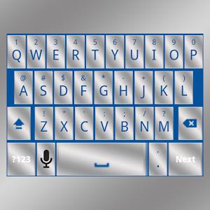 Blue Silver Keyboard Skin