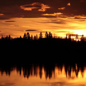 Sunset over Boden by Elisabeth Johansson - Landscapes Sunsets & Sunrises ( water, sweden, boden, light, evening, spring,  )