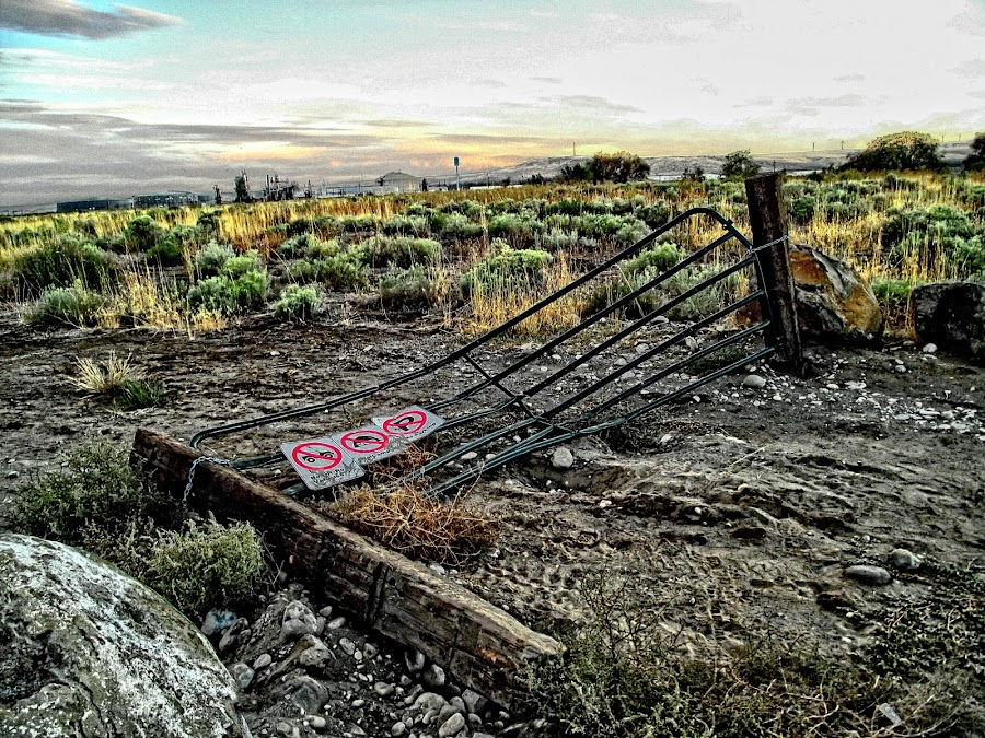 Stolen Access by Helen Jamison - Instagram & Mobile Android ( fence, hdr, keep out, beautiful, tumbleweeds, no trespassing, gate,  )