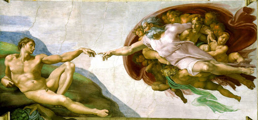 "Creation-of-Adam-Michaelangelo-Rome - ""The Creation of Adam"" (c. 1511), fresco painting by Michelangelo, part of the Sistine Chapel in Vatican City."