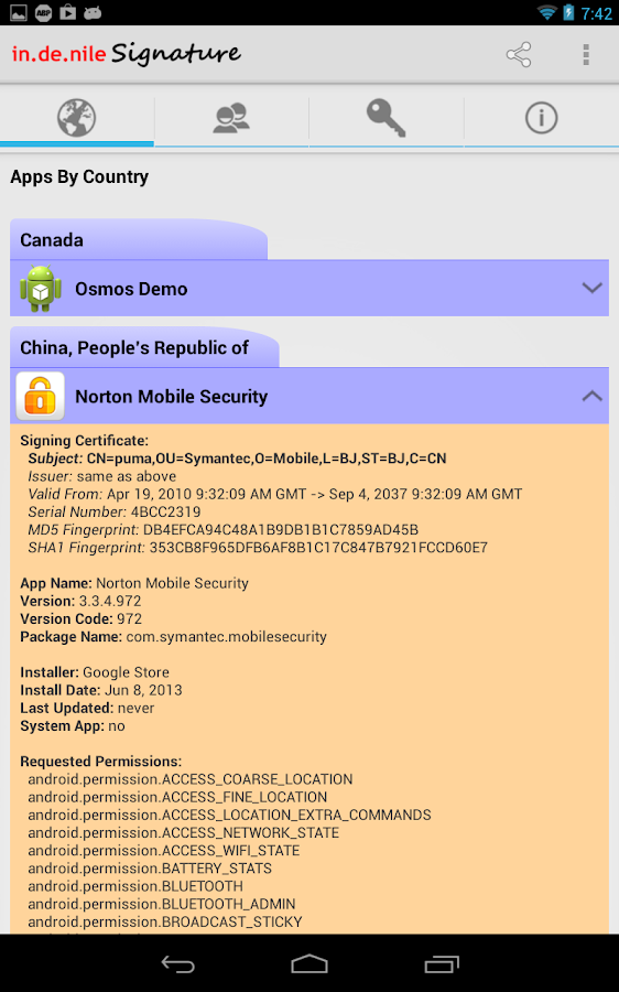 Norton Mobile Security app for Android has a Chinese digital