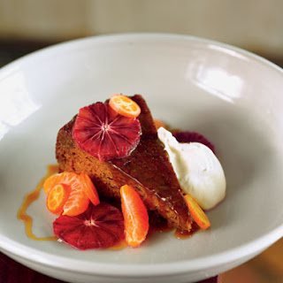 Sticky Toffee Pudding with Blood Orange, Tangerine, and Whipped Crème Fraîche.