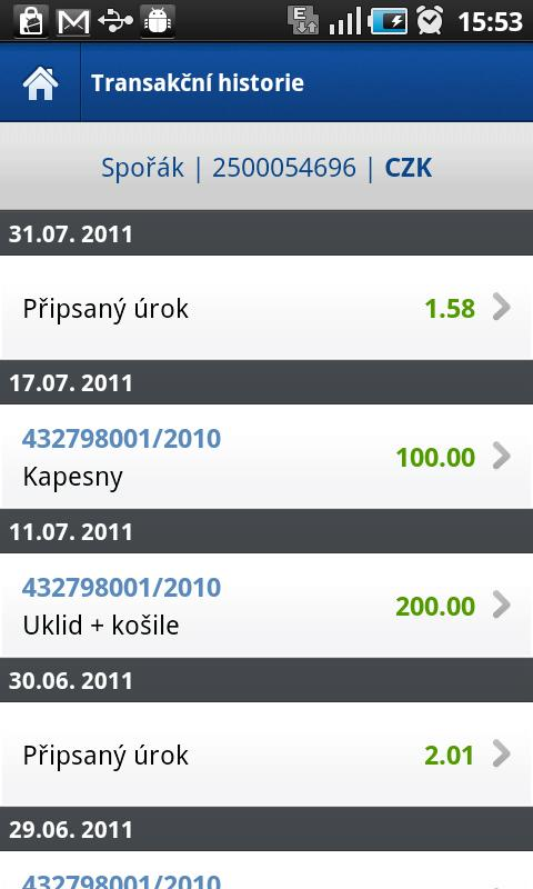 Fio banka Smartbanking- screenshot
