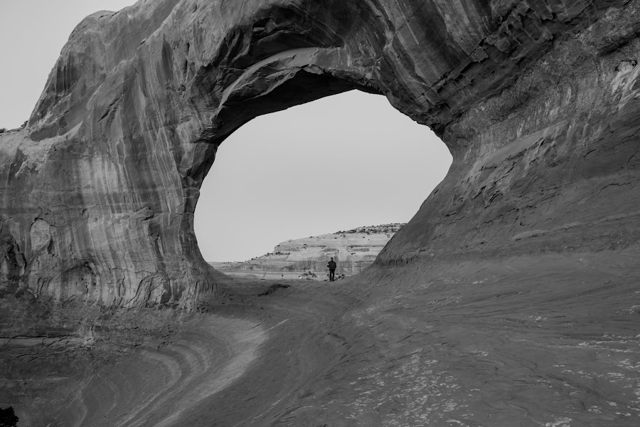 Natural Arch by Scott Morgan - Black & White Landscapes ( arch, wilson's, rock, natural, formation,  )
