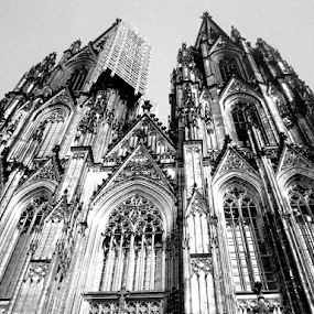 Koln Cathedral by Christopher Charlton - Black & White Buildings & Architecture ( cologne, church, black and white, koln, germany, cathedral )