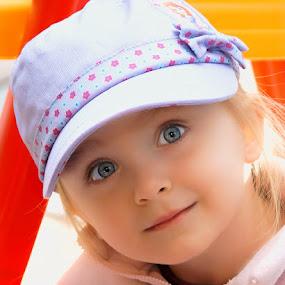 Modeling her New Hat by Luanne Bullard Everden - Babies & Children Children Candids ( girls, babies, grandchildren, children, toddlers,  )